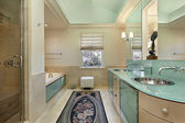 Master bath with lime green vanity — 图库照片