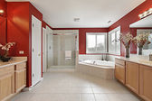 Master bath with red walls — Stock Photo