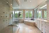 Master bath with large glass shower — Stock Photo