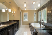 Master bath with black tub area — Stock Photo