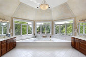 Master bath with windowed tub area — Stock Photo
