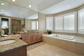 Master bath with granite counters — Stock Photo