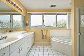 Master bath with yellow walls — Stock Photo