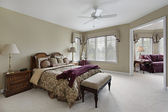 Master bedroom with adjacent sitting room — Stock Photo