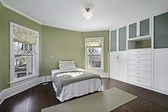 Master bedroom with green walls — Stock Photo