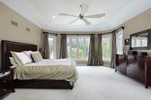 Master bedroom with wall of windows — Stock Photo