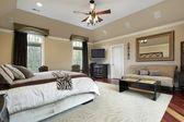 Master bedroom med facket tak — Stockfoto