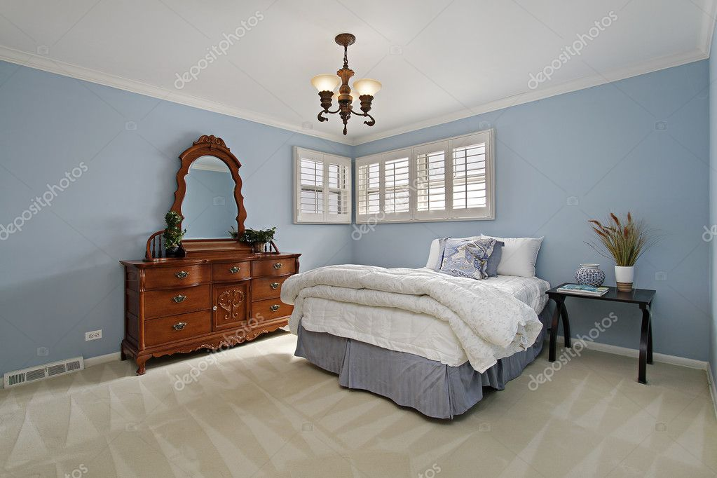 Master Bedroom With Light Blue Walls Stock Photo Lmphot 8679212