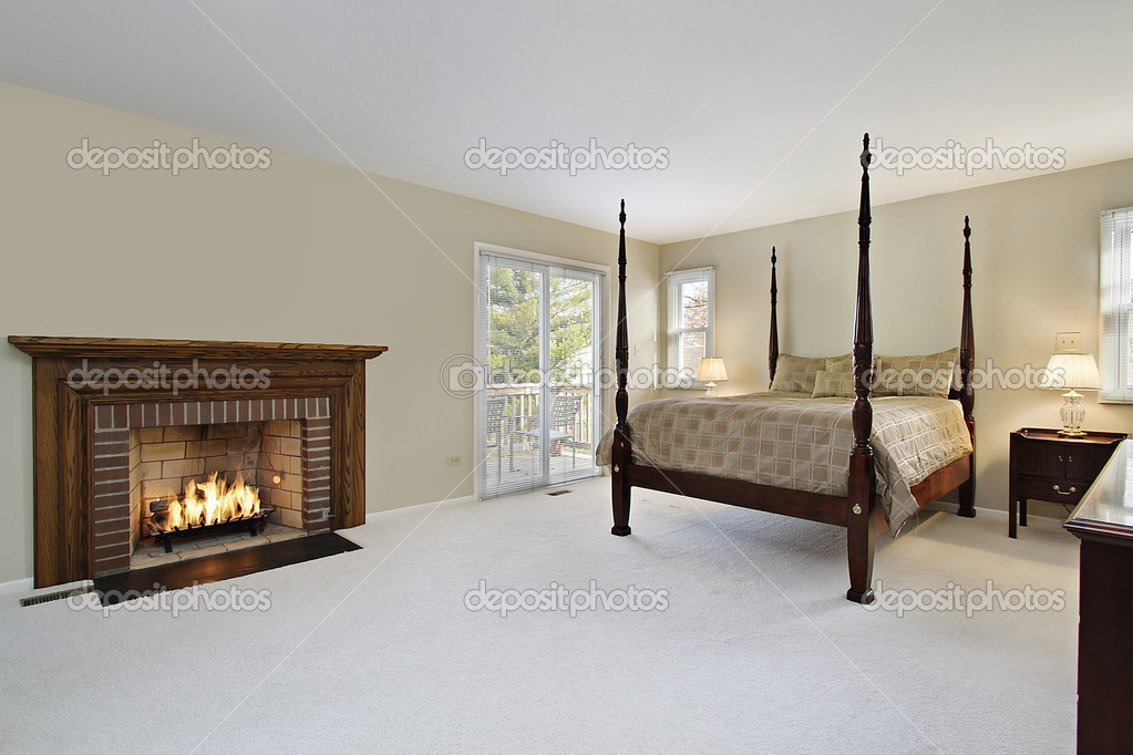 Master Bedroom With Fireplace Stock Photo Lmphot 8679274