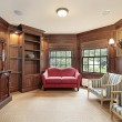 Library with red sofa — Foto de Stock
