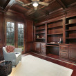Stock Photo: Cherry wood paneling library