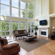 Living room with two story windows — Stock Photo