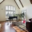 Living room with wood ceiling beams — Stock Photo #8682480
