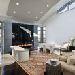 Living room with glass fireplace — Stock Photo #8682535