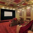Theater with plush red carpeting — ストック写真