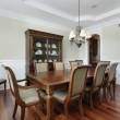 Dining room with view into pantry - Stockfoto