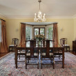 Dining room with doors to patio - Foto Stock