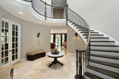 Foyer with circular staircase — Stock Photo