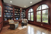 Library in luxury home — Stock Photo