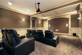 Home theater with stadium seating — Stock Photo