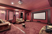 Large theater in luxury home — Stock Photo