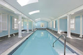 Long indoor swimming pool — 图库照片