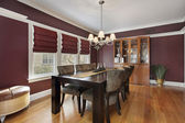 столовая с maroon стены — Стоковое фото