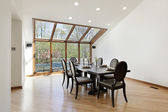 Dining room with wood skylights — Stock Photo