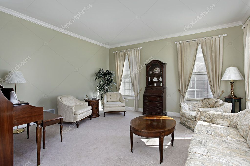 Living room in suburban home with white carpeting — Stock Photo #8682464