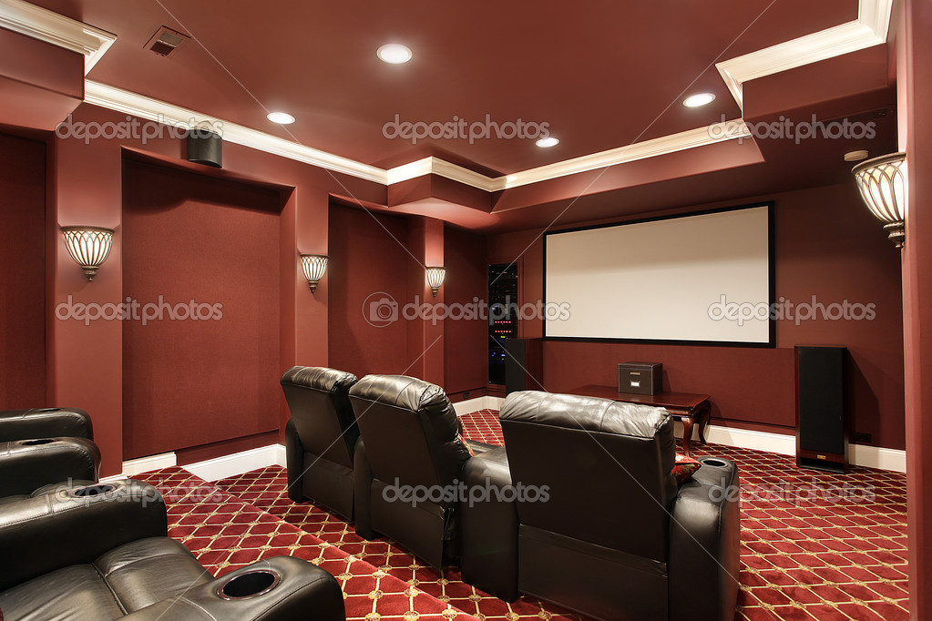 Theater room with stadium seating stock photo lmphot - Home theater stadium seating design ...