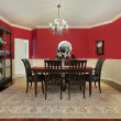 Dining room with red walls — Photo