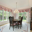Dining room with pink draperies — Stock Photo