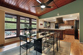 Dining room wood ceiling panels — Stock Photo