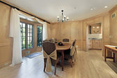 Dining room with oak wood paneling — Stock Photo