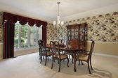 Dining room with leaded glass buffet — Stock Photo