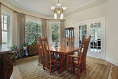 Dining room with french doors — Stock Photo