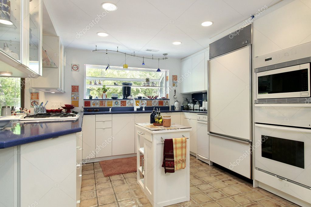 Kitchen With Blue Countertops Stock Photo Lmphot 8694644