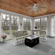 Porch in suburbs with wood paneled ceiling — Stock Photo