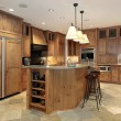 Contemporary all wood kitchen - Stock Photo