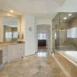 Master bath with glass shower — Stock Photo