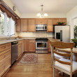 Stock Photo: Kitchen with wood paneling