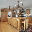 Kitchen with butcher block island — Stock Photo #8702318