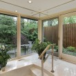 Master bath with garden view — Stock Photo #8702489