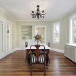 Dining room with glass doors — Stock Photo