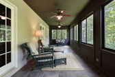 Porch with dark wood paneling — Stock Photo