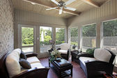 Porch with wood ceiling beams — Stock Photo