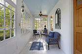Porch with wall of windows — Stok fotoğraf