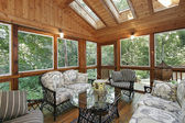 Wood paneled porch with skylights — Stock Photo