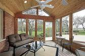 Portico con mobili in ferro battuto — Foto Stock