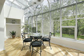 Sun room with ceiling windows — 图库照片